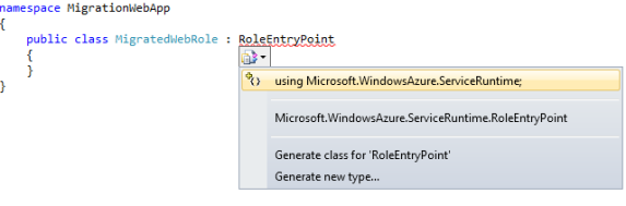 Add a using directive (Here shown using Intellisense)