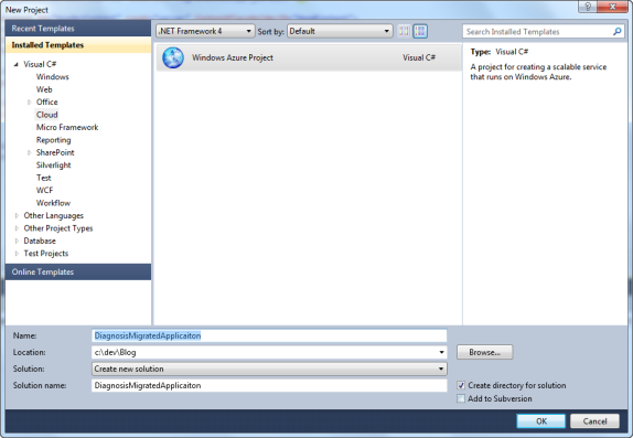 Create a new Windows Azure Project