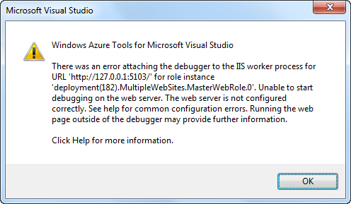Error due to not being able to debug