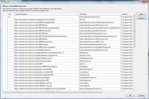 XML Schemas dialog