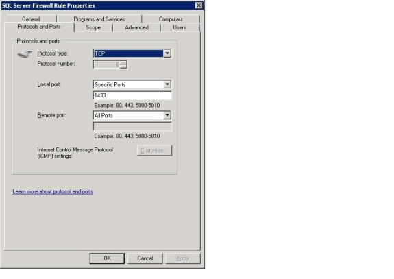 Opening a firewall port for SQL Server